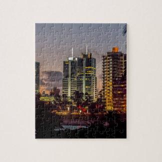 Montevideo Cityscape Scene at Twilight Puzzle