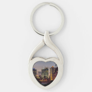 Montevideo Cityscape Scene at Twilight Silver-Colored Twisted Heart Keychain