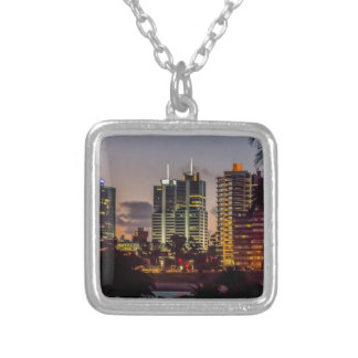 Montevideo Cityscape Scene at Twilight Silver Plated Necklace
