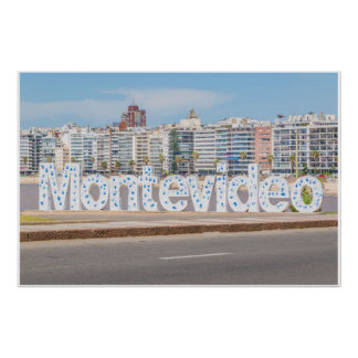 Montevideo Letters at Pocitos Beach Poster