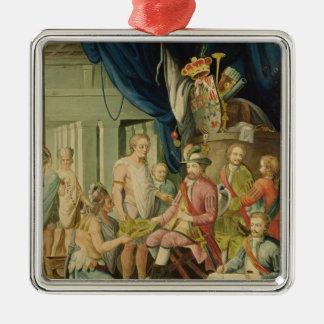 Montezuma Silver-Colored Square Ornament