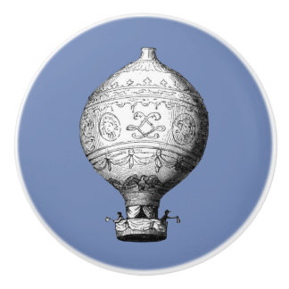 Montgolfier Vintage Hot Air Balloon on Blue Ceramic Knob
