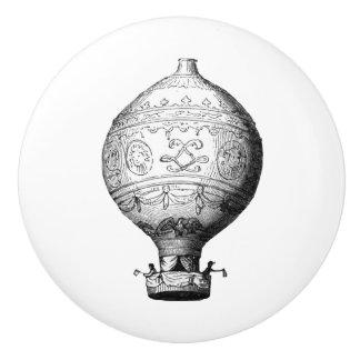 Montgolfier Vintage Hot Air Balloon on White Ceramic Knob
