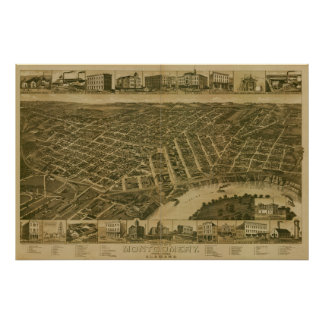 Montgomery Alabama 1887 Antique Panoramic Map Poster