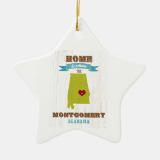 Montgomery, Alabama Map – Home Is Where The Heart Ceramic Star Ornament