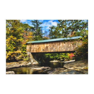 Montgomery Covered Bridge with fall foliage Canvas Print
