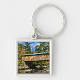 Montgomery Covered Bridge with fall foliage Silver-Colored Square Keychain