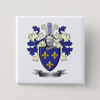 Montgomery Family Crest Coat of Arms 2 Inch Square Button