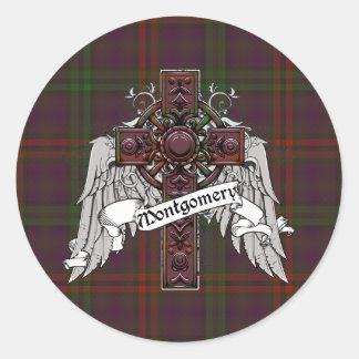 Montgomery Tartan Cross Round Sticker