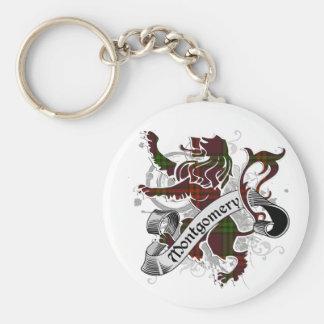 Montgomery Tartan Lion Basic Round Button Keychain