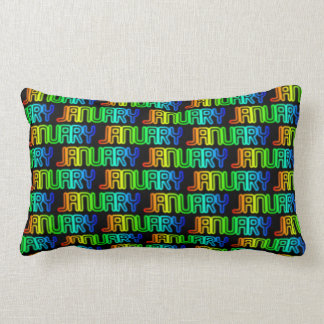 Month January Colorful Rainbow Typography Pattern Lumbar Pillow