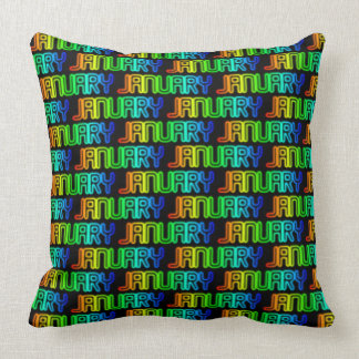Month January Colorful Rainbow Typography Pattern Throw Pillow