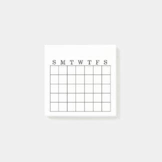 Monthly Calendar/Habit Tracker Post-It Note