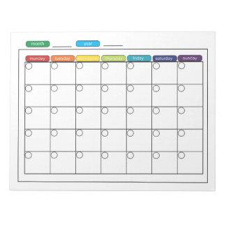 Monthly Calendar Notepad