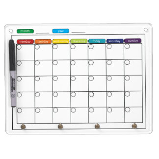 Monthly Calendar Whiteboard Dry Erase Whiteboards