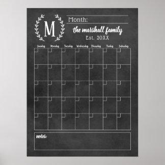Monthly Family Calendar   Chalkboard Monogram Poster