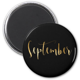 Monthly September Black Gold Glam Script 2 Inch Round Magnet