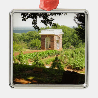 Monticello View Silver-Colored Square Ornament