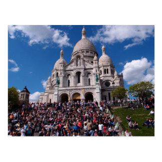 Montmartre Paris sunny day with cute Tour eiffel Postcard