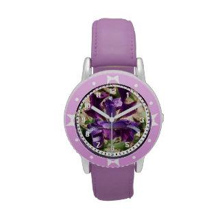 Montre pourpre d'iris montres bracelet