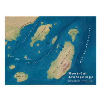 Montreal Archipelago--Sea Rise Map Poster