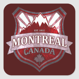 Montreal Canada red grunge shield square stickers