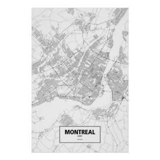 Montreal, Quebec (black on white) Poster