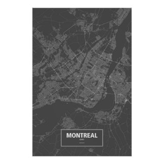 Montreal, Quebec (white on black) Poster
