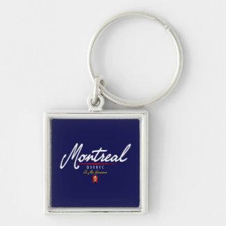 Montreal Script Silver-Colored Square Keychain