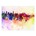Montreal skyline in watercolor background photographic print