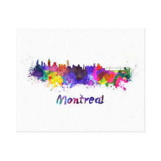 Montreal skyline in watercolor canvas print