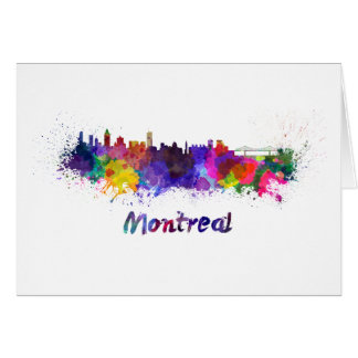 Montreal skyline in watercolor card