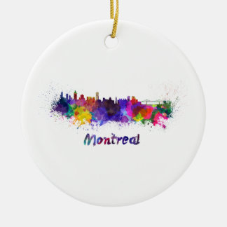 Montreal skyline in watercolor ceramic ornament