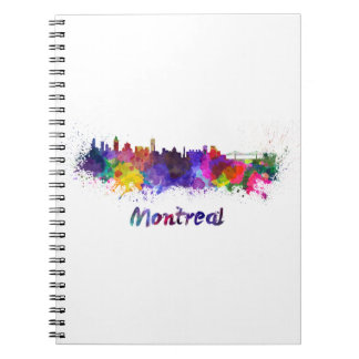 Montreal skyline in watercolor notebook