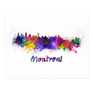 Montreal skyline in watercolor postcard