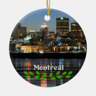 Montreal Skyline with green and red holly Ceramic Ornament