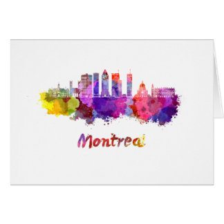 Montreal V2 skyline in watercolor splatters Card