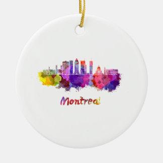 Montreal V2 skyline in watercolor splatters Ceramic Ornament