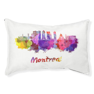 Montreal V2 skyline in watercolor splatters Pet Bed
