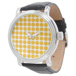 Montres Bracelet Motif de Polkadot de cercle de pois jaune citron
