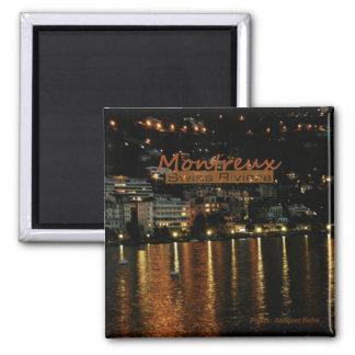 Montreux Switzerland Nighttime Photo Fridge Magnet