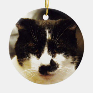 Monty Black and White cat Round Ceramic Ornament