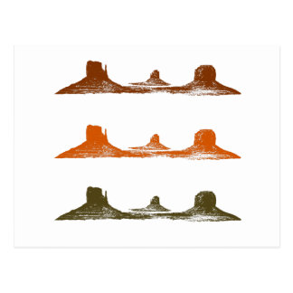 Monument Valley, 3 mountains, 3 colors Postcard