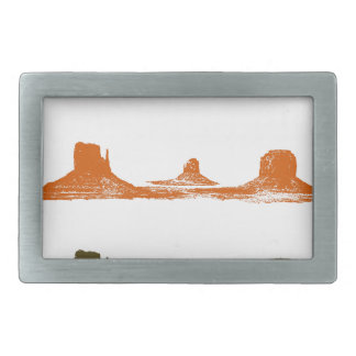 Monument Valley, 3 mountains, 3 colors Rectangular Belt Buckles