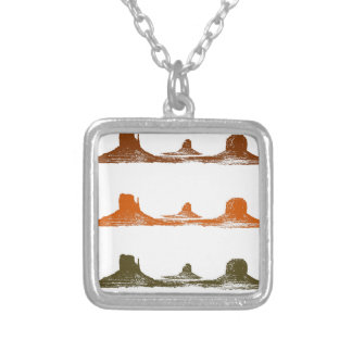 Monument Valley, 3 mountains, 3 colors Silver Plated Necklace