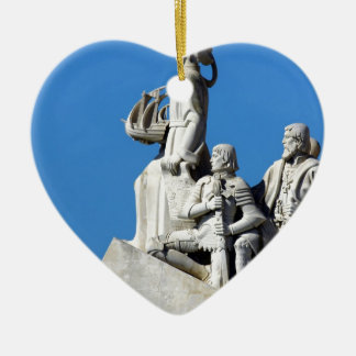 Monument you the Portuguese Discoveries at Lisbon Ceramic Heart Ornament