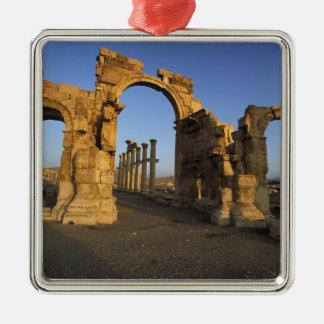 Monumental Arch, Palmyra, Homs, Syria Silver-Colored Square Ornament