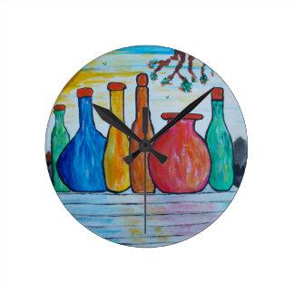 Monumental bottles round clock