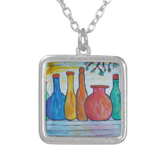 Monumental bottles silver plated necklace