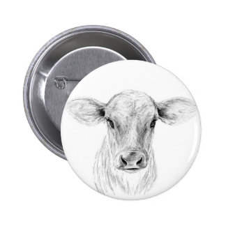 Moo A Young Jersey Cow 2 Inch Round Button
